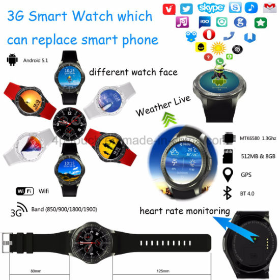 3G Android Smart Phone Watch with Heart Rate Monitor (Dm368)
