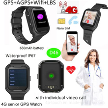 4G Waterproof Elderly GPS Watch with Heart Rate & Blood Pressure monitor D46