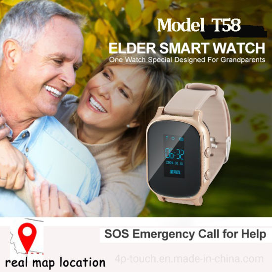 Two colors Senior GPS Smart Watch Phone with multiple accurate Positioning