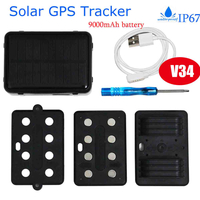 Solar-Powered GPS Tracker for Car with Geo-Fence Alarm (V34)