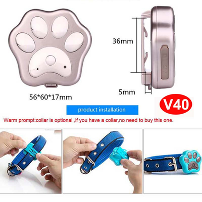 3G/WCDMA IP66 Waterproof Pet GPS Tracker with large battery capacity V40