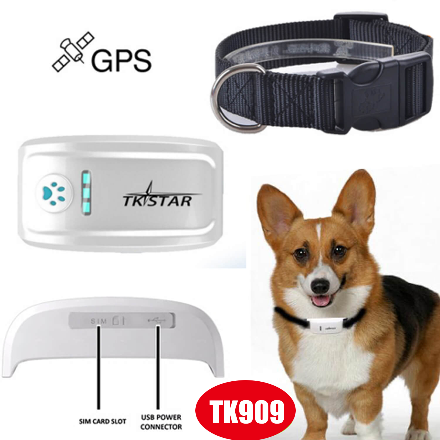 Mini Pets GPS Tracker with GPRS Real-Time Tracking Tk909