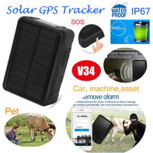 IP67 waterproof car Solar-Powered GPS Tracker with Geo-Fence Alarm (V34)