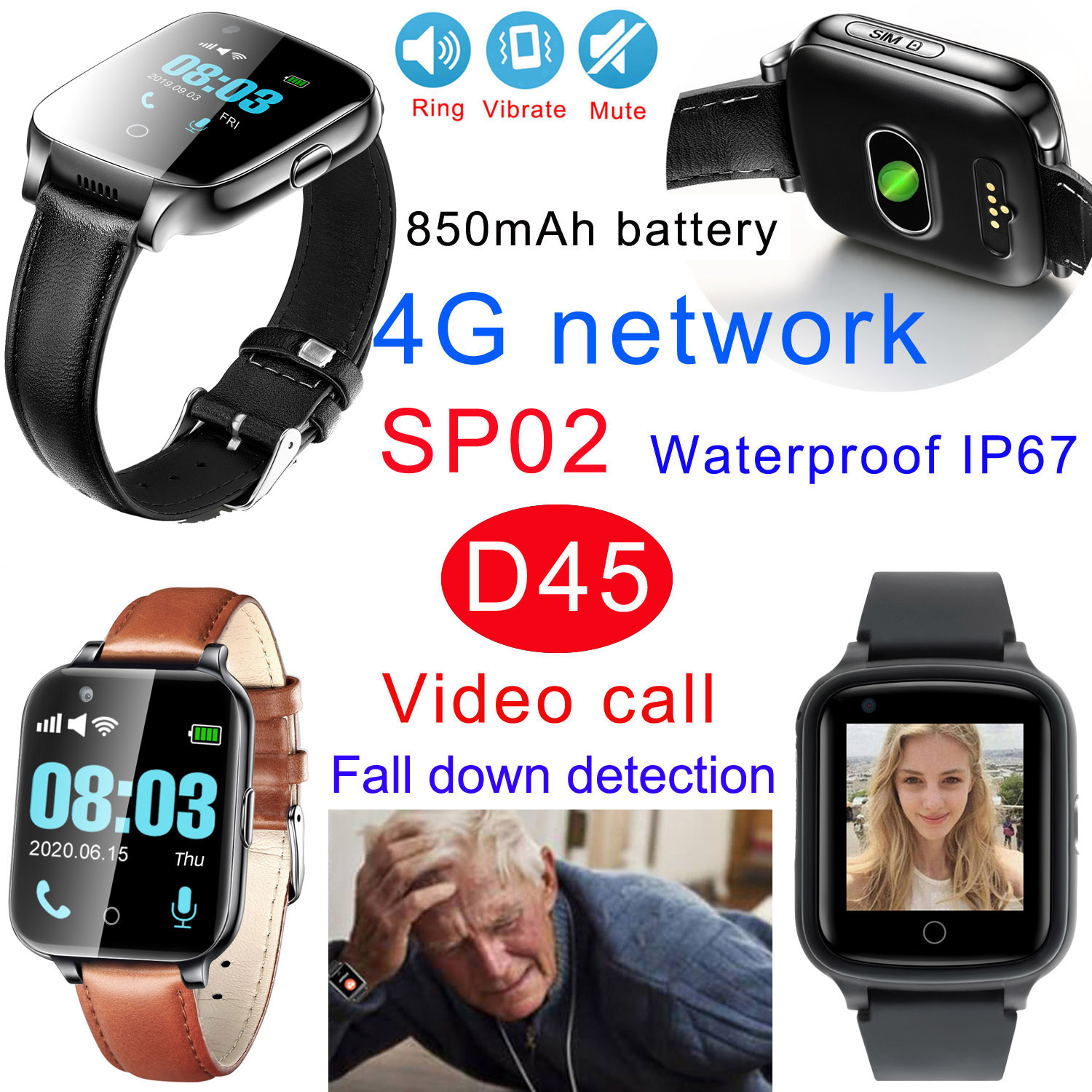 850mAh Battery 4G Fall Down Alert GPS Tracker Watch with Video Call