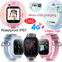 2020 4G IP67 Waterproof New Developed Fashionable Kids GPS Tracker watch with Video call D55