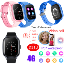 4G/LTE Waterproof Kids Smart Watch Tracker Watch with Video Call Take off Alarm D31U
