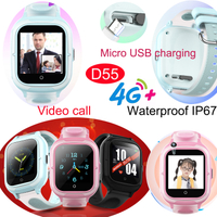 4G IP67 Waterproof New Gift watches Girls GPS Tracker watch with Multi-languages Video call D55