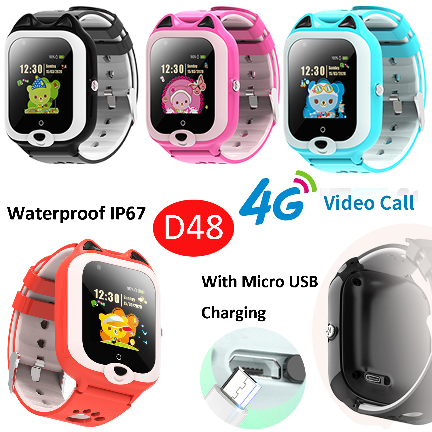 2020 New Cute IP67 Waterproof Multi-languges Kids GPS Tracker watch Phone with Video call D48