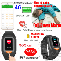 New Develpoed 4G/LTE Waterproof Smart GPS band with Fall down alarm Heart rate and Blood pressure monitor Y6S4