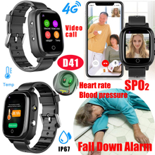 Waterproof IP67 Thermometer GPS Watch tracker with SPO2, Fall down detection D41